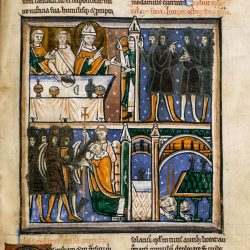 The earliest known miniature of the martyrdom of Thomas Becket (London, British Library, MS Cotton Claudius B II, f. 341r)